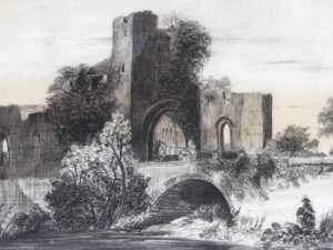 19th Century Original Charcoal and Watercolor of Hatfield Castle